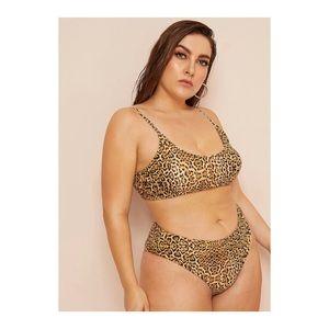 Plus Leopard Print High Waist Bikini